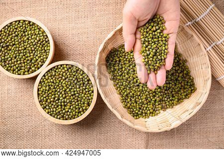 Mung Bean Seeds In Hand And Pouring Into Bamboo Basket, Food Ingredients In Asian Cuisine And Produc