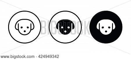 Dog Head Icon, Dog Icons Button, Vector, Sign, Symbol, Logo, Illustration, Editable Stroke, Flat Des