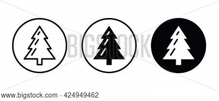 Christmas Tree Icon Icons Button, Vector, Sign, Symbol, Logo, Illustration, Editable Stroke, Flat De