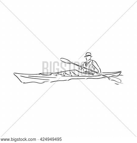 Sketch Of Kayaking People, Hand Drawn Vector Illustration