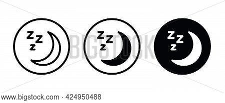 Moon Icons Button, Vector, Sign, Symbol, Logo, Illustration, Editable Stroke, Flat Design Style Isol