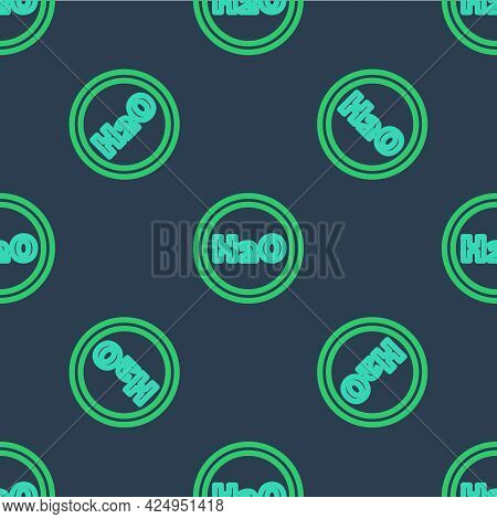 Line Chemical Formula For Water Drops H2o Shaped Icon Isolated Seamless Pattern On Blue Background.