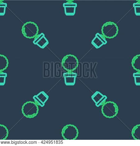 Line Flower In Pot Icon Isolated Seamless Pattern On Blue Background. Plant Growing In A Pot. Potted