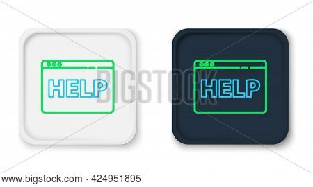 Line Browser Help Icon Isolated On White Background. Internet Communication Protocol. Colorful Outli