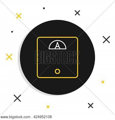Line Bathroom Scales Icon Isolated On White Background. Weight Measure Equipment. Weight Scale Fitne