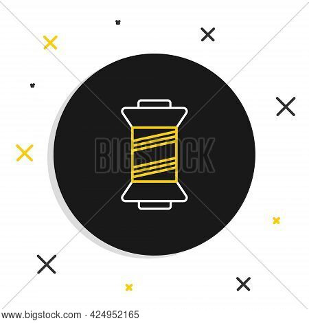 Line Sewing Thread On Spool Icon Isolated On White Background. Yarn Spool. Thread Bobbin. Colorful O