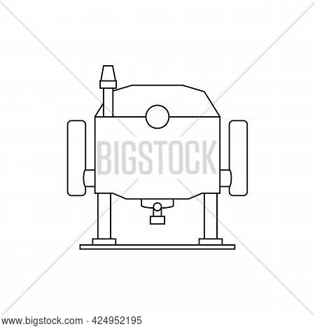Electric Wood Plunge Router. Linear Outline Vector Drawing On White Background.
