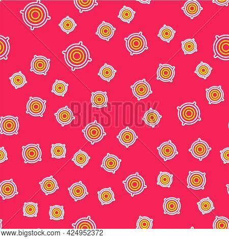 Line Target Sport Icon Isolated Seamless Pattern On Red Background. Clean Target With Numbers For Sh