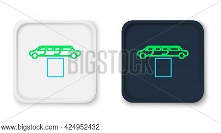 Line Luxury Limousine Car And Carpet Icon Isolated On White Background. For World Premiere Celebriti