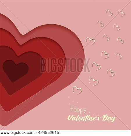 Happy Valentine's Day Banner. Paper Cut Red And White Hearts, Pink Background. Holiday Design For Ha