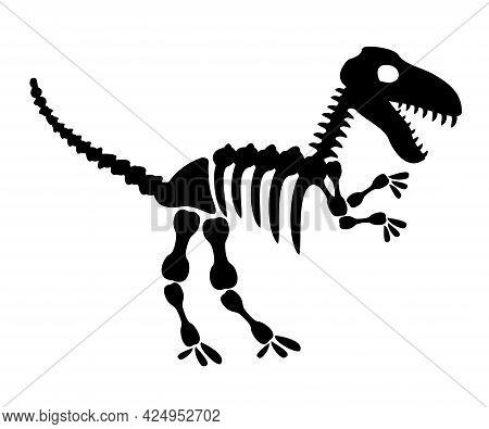 Tyrannosaurus Rex Icon In Silhouette Style. T Rex Dinosaur Skeleton. Prehistoric Creature Bones Isol