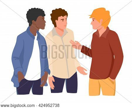 Three Young Man Talking Together To Each Other. Different Nationalities And Races. Male Friendship,