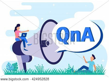 Vector Illustration Questions And Answers About Problem Solving. Discussion With The Qna Text Bubble