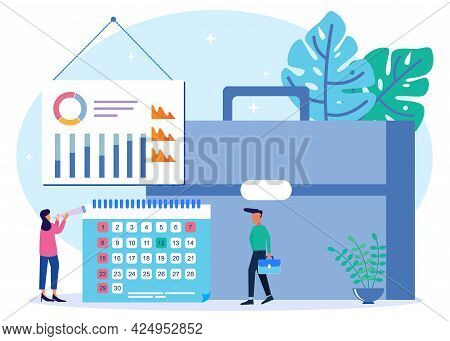 Vector Illustration Of Business Concept, Businessperson With Clock On White Background, Express Serv