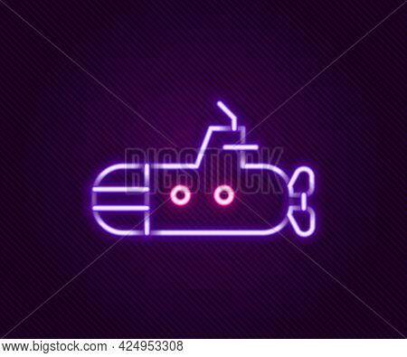Glowing Neon Line Submarine Icon Isolated On Black Background. Military Ship. Colorful Outline Conce