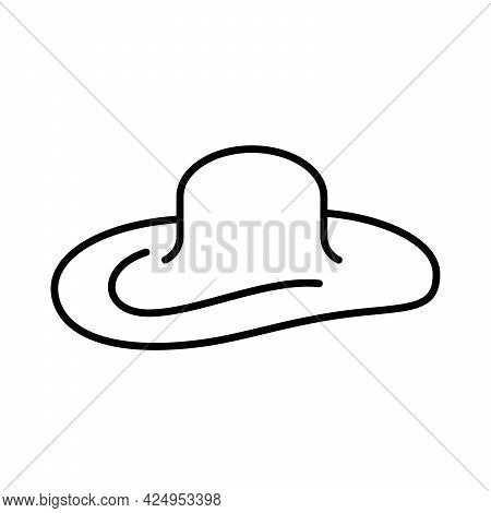Sun Protection Woman Hat Icon. Woman Hat Icon. Vector Illustration. Sun Protection Hat Vector Icon.