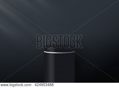 3d Realistic Black And White Pedestal Display On Dark Background With Lighting. You Can Use For Show