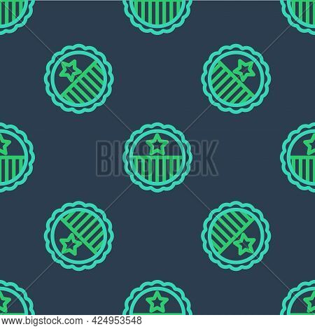 Line Medal With Star Icon Isolated Seamless Pattern On Blue Background. Winner Achievement Sign. Awa