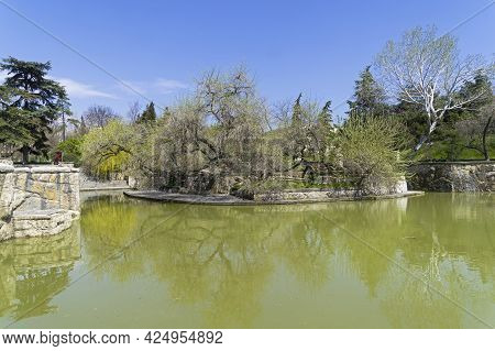 Sudak, Crimea - April 28, 2021: A Pond In The Park Of The Tourist And Recreation Center