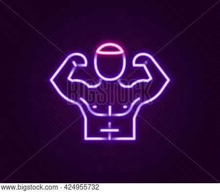 Glowing Neon Line Bodybuilder Showing His Muscles Icon Isolated On Black Background. Fit Fitness Str