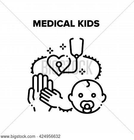 Medical Kids Vector Icon Concept. Medical Examination, Diagnosis And Disease Treatment. Doctor Pedia