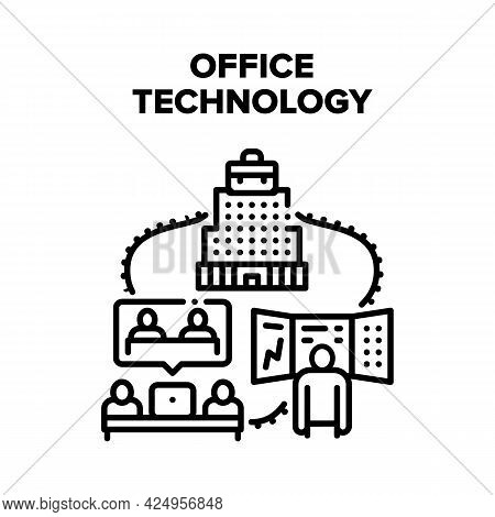 Office Digital Technology Vector Icon Concept. Laptop For Communicate With Partners By Video Call An