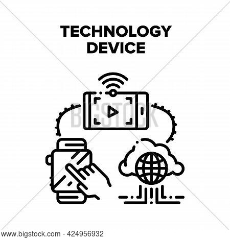 Technology Digital Device Vector Icon Concept. Smartphone For Watching Movie Online And Smart Watche