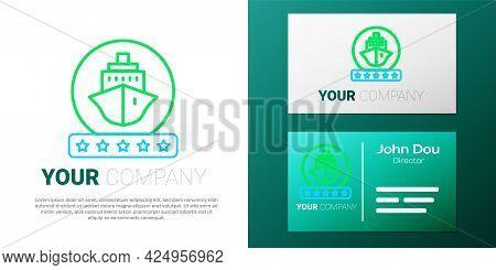 Line Cruise Ship Icon Isolated On White Background. Travel Tourism Nautical Transport. Voyage Passen