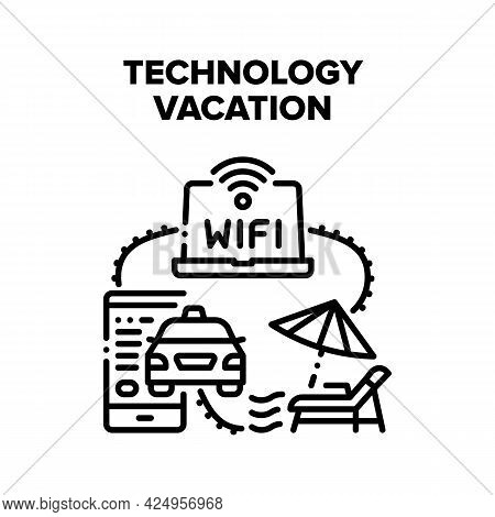 Technology Gadget Vacation Vector Icon Concept. Smartphone Application For Ordering Taxi Online And