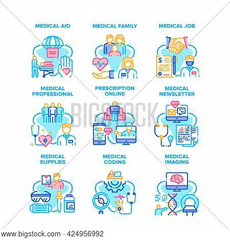 Medical Aid Job Set Icons Vector Illustrations. Medical Aid Job And Professional Family, Newsletter