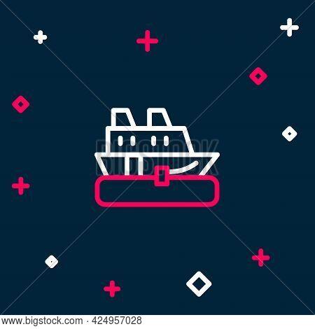 Line Cruise Ship Icon Isolated On Blue Background. Travel Tourism Nautical Transport. Voyage Passeng