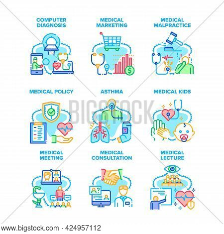 Medical Meeting Set Icons Vector Illustrations. Medical Meeting And Marketing, Malpractice And Polic