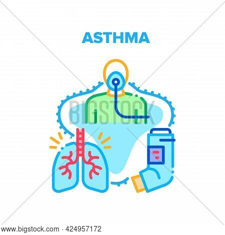 Asthma Disease Vector Icon Concept. Asthma Attack Disease Treatment Tool, Asthmatic Patient Breathin