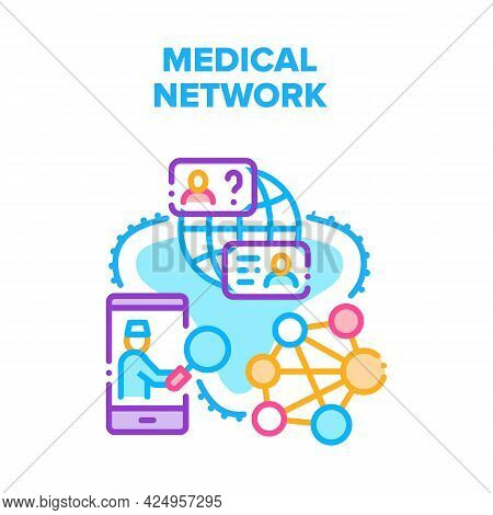 Medical Network Vector Icon Concept. Medical Network Connection With Doctor For Examining, Diagnosis