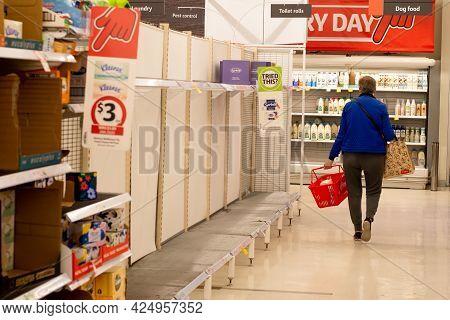 Sydney, Australia 2021-06-26 Empty Toilet Paper Rolls Shelf At Coles Miranda After Two Weeks Lockdow