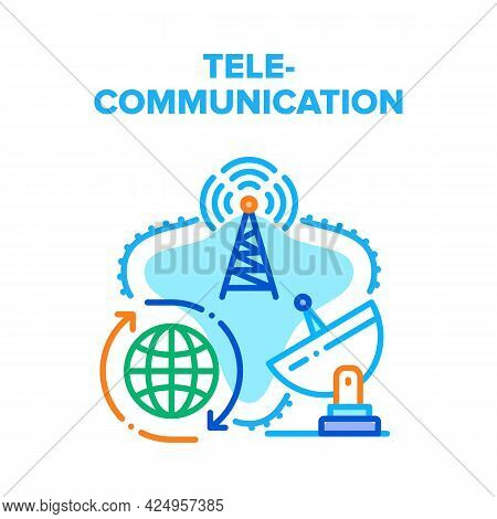 Telecommunication Technology Vector Icon Concept. Radio Tower And Satellite Antenna Telecommunicatio