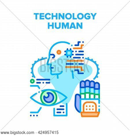 Technology Human Vector Icon Concept. Cyborg Digital Eye, Artificial Intelligence And Robotic Arm, T