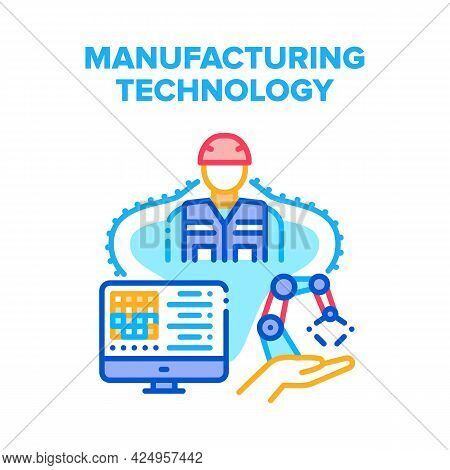 Manufacturing Technology Vector Icon Concept. Worker Monitoring And Setting On Computer Screen Robot