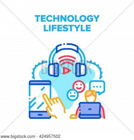 Technology Digital Lifestyle Vector Icon Concept. Technology Digital Lifestyle, User Using Laptop Fo