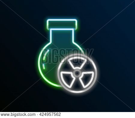 Glowing Neon Line Laboratory Chemical Beaker With Toxic Liquid Icon Isolated On Black Background. Bi