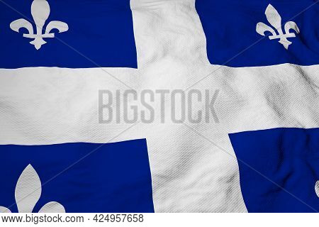 Full Frame Close-up On A Waving Flag Of Quebec (canada) In 3d Rendering.