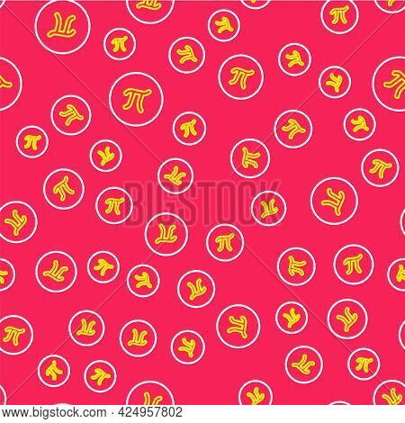 Line Pi Symbol Icon Isolated Seamless Pattern On Red Background. Vector