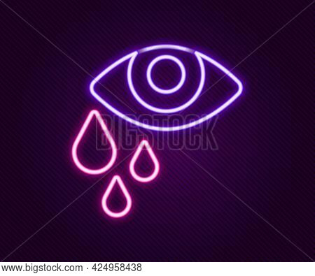 Glowing Neon Line Tear Cry Eye Icon Isolated On Black Background. Colorful Outline Concept. Vector