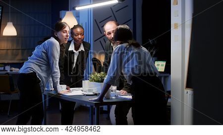 Focused Businesswoman Enter In Office Meeting Room Standing At Conference Table Planning Business Co