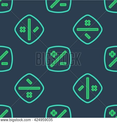 Line Exposure Compensation Icon Isolated Seamless Pattern On Blue Background. Vector