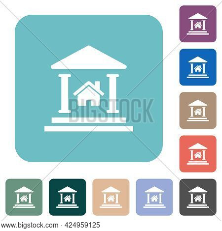 Real Estate Loan White Flat Icons On Color Rounded Square Backgrounds