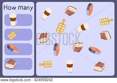 Kids Mathematical Mini Game - Count How Many Foods - Latte, Varenyky, Salmon, Beacon. Educational Ga