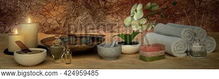 Spa Concept: Composition Of Spa Treatment With Natural Aromatic Oil, Clay, Spa Stone On Wooden Backg