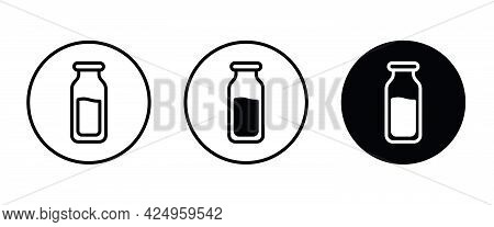 Milk Bottle Icon, Milk Icons Button, Vector, Sign, Symbol, Logo, Illustration, Editable Stroke, Flat