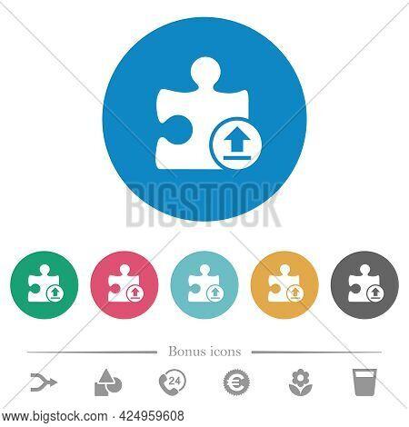 Upload Plugin Flat White Icons On Round Color Backgrounds. 6 Bonus Icons Included.